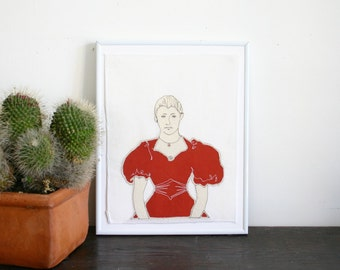 Original Art Illustration Stitched Portrait- Woman in Rust Silk