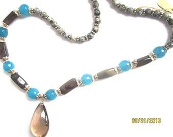 Blue and Brown: Jasper, Quarz, Agate, Apatite, Tear Drop Pendant Necklace