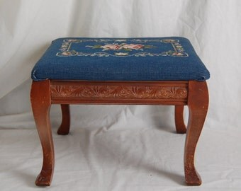 Antique Victorian Floral Needlepoint Footstool