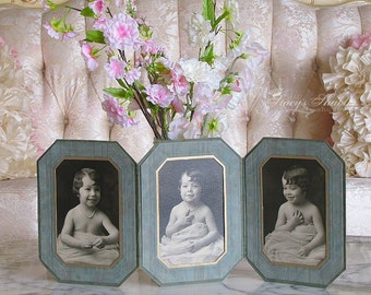 Adorable Antique GIRL TRIPLE PHOTOGRAPH, Black And White, Photo, 1930's, Shabby Chic