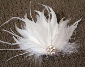 Wedding Bridal Ivory Feather Off White Veiling Rhinestone Jewel Head Piece Hair Clip Fascinator Accessory READY TO SHIP
