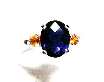 """Iolite, iolite ring, iolite accent ring, multi stone ring, birthday, anniversary,  blue yellow ring, s 7 1/2  """"Periwinkle Twinkle"""" """""""