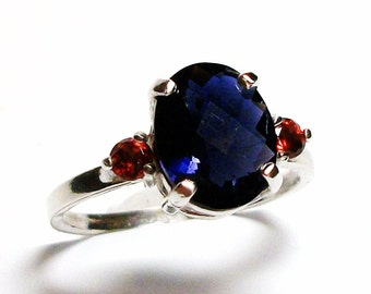 "Iolite, iolite accent ring, blue red, multi stone ring, birthday, anniversary, s 5 1/2   ""Indigo"""