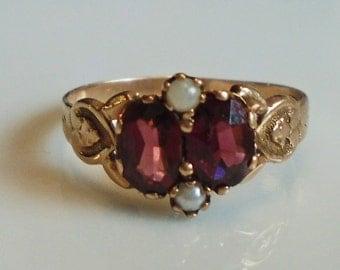 Victorian 14K Gold Garnet Seed Pearl Ring 1870s Sz 7 1/4 Hallmark Star