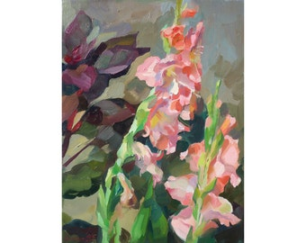 Gladioluses and Amaranth. Original oil painting. Impressionistic painting. Painted from life.