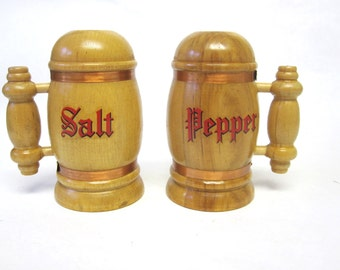 Medieval Wood Salt And Pepper Shakers Wooden With Handles