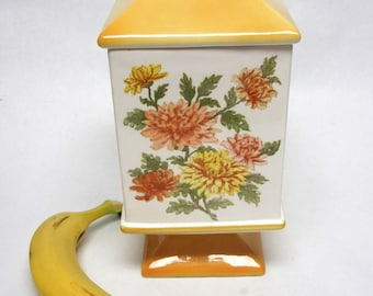 White And Yellow Pedestal Canister Chrysanthemum Flower Cookie Jar