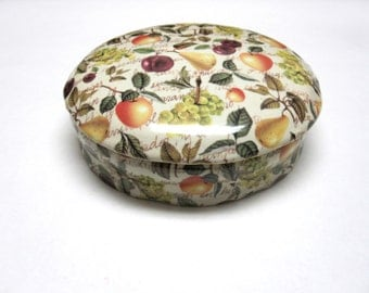 Fruit Pattern Candy Dish Trinket Box Formalities Eden Fruit Chintz Baum Brothers