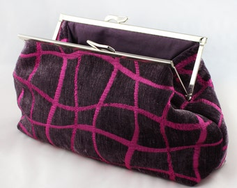 Pink clutch bag. Velvet clutch bag. Small abstract bag in aubergine and pink velvet fabric. Unique and original. Made to order.