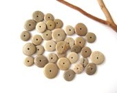 Stone Spacers Center Drilled Stones Beach Stone Beads Mediterranean Natural Stone Cairn Jewelry Findings Pairs SMALL EARTHY DONUTS 11-29 mm