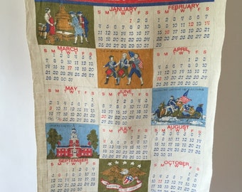 American Liberty 1976 Tea Towel, Vintage Calendar Kitchen Towel, Bicentennial, 4th of July