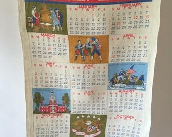 American Liberty 1976 Tea Towel, Vintage Calendar Kitchen Towel, Bicentennial, 4th of July