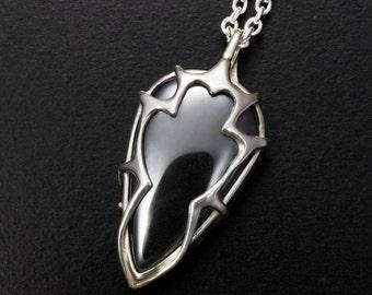 Hematite pendant necklace, tribal pendant necklace, silver pendant necklace, unisex pendant necklace