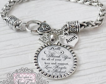 Aunt of the Bride Gift, From Groom-Personalized Wedding Bracelet,Aunt Wedding Gift-Personalized Thank you Wedding Gift- Wedding Date Jewelry