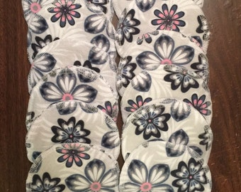 Nursing pads/Facial Wipes 12 sets (24 total) made with 4 layers of 100% cottlon flannel Pink, Grey and White Flowers