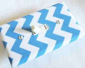 BLUE CHEVRON Light Switch Cover Plate Switchplate Nursery Decor