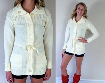 Half Off vintage 70s CREAM belted KNIT CARDIGAN xs/s sweater fall mod boho retro jacket hippie grandpa fisherman