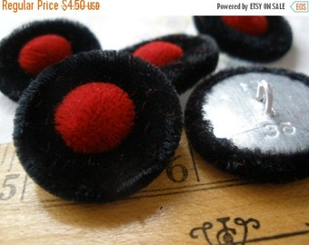 Black & Red Velvet Cloth Covered Buttons halo pin shank 36L 24MM 5ea Faux Fur Velour Fabric Kitsch Cool sewing craft scrapbook eco friendly