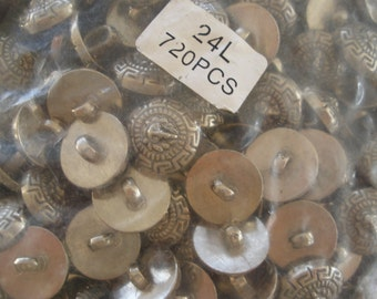 "Bulk Lion Buttons Antique pewter color 720 pcs silver shank metallic plastic 24L 5/8"" 15mm scrapbook cabochon craft paper tag supply Versace"