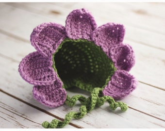 Flower Bonnet-Newborn, Infant, Child Size