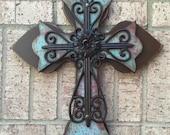 Wood Cross, Large Turquoise Wood Cross, Wall Cross
