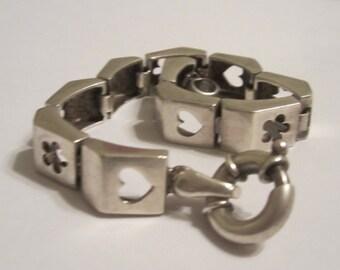 Vintage Sterling Link Bracelet Clover Heart Star Link Jewelry Edanebeadwork