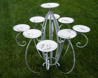 Candelabra - White Shabby and Rustic - Pillar Candle Holder - Wedding Reception Decoration - Large Centerpiece