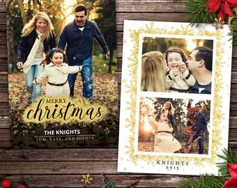 Digital Christmas Card Photo Template - Shimmer Gold Foil