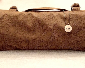 Professional Chef's Knife Roll in Beautiful Deep Tan Faux Leather/Suede