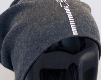 Zipper Pull Embellished Beanie
