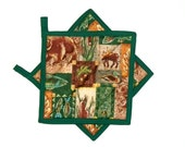 Pot Holders Quilted Lodge Cabin Bear Moose Rustic Country Decor Green Potholders Set of 2