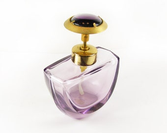Vintage Cut Glass Perfume Bottle, Mauve Purple, West Germany, Works, 50s / Vintage Wedding Perfume Bottle - Bouteille