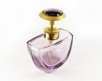 Vintage Perfume Bottle, Mauve PurpleCut Glass, West Germany, Works, 50s / Vintage Wedding Perfume Bottle - Bouteille