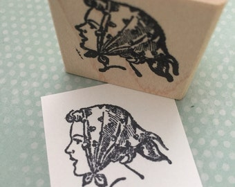 Retro Scarf Lady  Mounted Rubber Stamp 5168