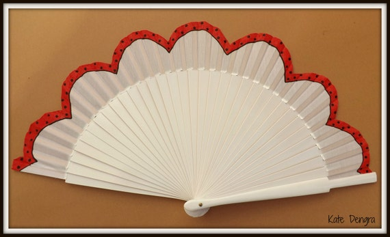 FLAMENCO Hand Painted Red Polka Dot SIZE OPTIONS White Hand Fan Scalloped Edge Wood and Fabric by Kate Dengra Spain Eventail Abanico Facher