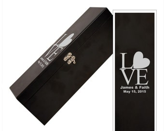 "Personalized ""Love"" Black Wine Box With Tools - Wedding Black Wine Box with Personalization - Customized Love Design Wedding Wine Gift Box"