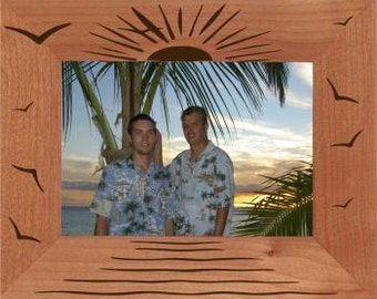 Personalized Beach Sunset Photo Frame - Engraved Wood Beach Picture Frame - Travel Photo Frame, Vacation Picture Frame