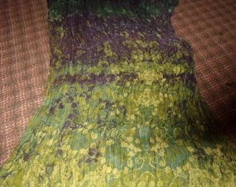vintage ladies head neck scarf green purple print oblong crinkle shawl