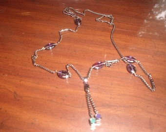 vintage necklace black enamel chain purple glass dangles