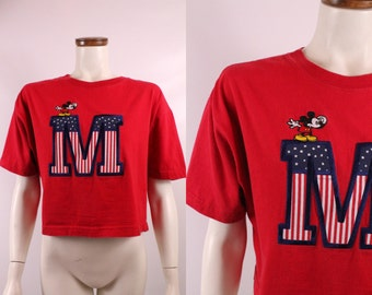 Vintage 90s - Embroidered American Flag Patch Mickey Mouse - Cropped - Crop Top - Red T Shirt - Disney Cartoon