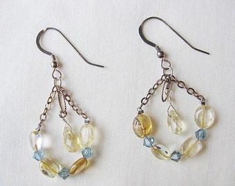 Geniune Citrine & Swarovski Crystal Dangling Earrings