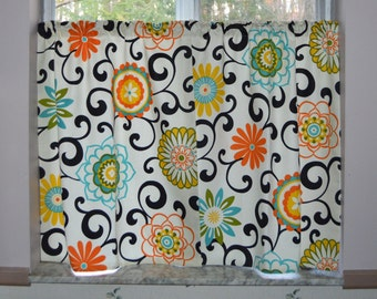 Cafe Curtains . Kitchen Tiers. Waverly Pom Pom Play Confetti . Kitchen Curtains .  Floral Custom Curtains .Handmade by SeamsOriginal