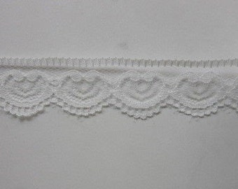 "White Heart Lace Trim-25mm-1""-3 YDS."