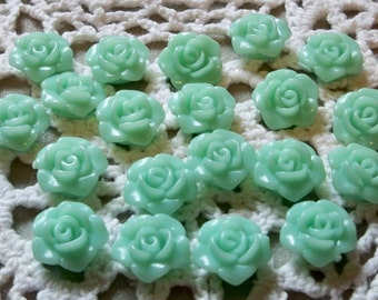 Mint Green Rose Cabochons/Flatbacks-14mm-20 PCS