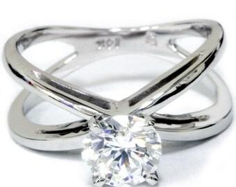 Diamond Engagement Ring, Solitair, 1ct Round Cut Diamond Solitaire Engagement Ring 14k White Gold White Gold Round Diamond Crossover