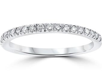 1/3ct Pave Diamond Wedding Ring 14K White Gold