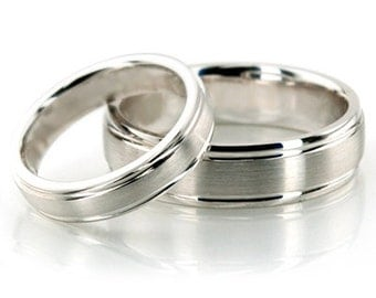 His and Hers Wedding Band Set, 10K White Gold Band Set