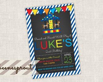 Boy Carousel Circus Birthday Invitation