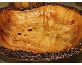 Custom Handcrafted flaming box elder bowl