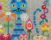 Garden Cat : Satsuma Street Jody Rice counted cross stitch patterns gardening feline embroidery